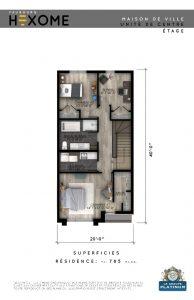 Plan de l'étage - Maison de ville Faubourg Hexome à St-Canut, Mirabel