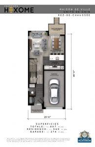 Plan du rez-de-chaussée - Maison de ville Faubourg Hexome à St-Canut, Mirabel